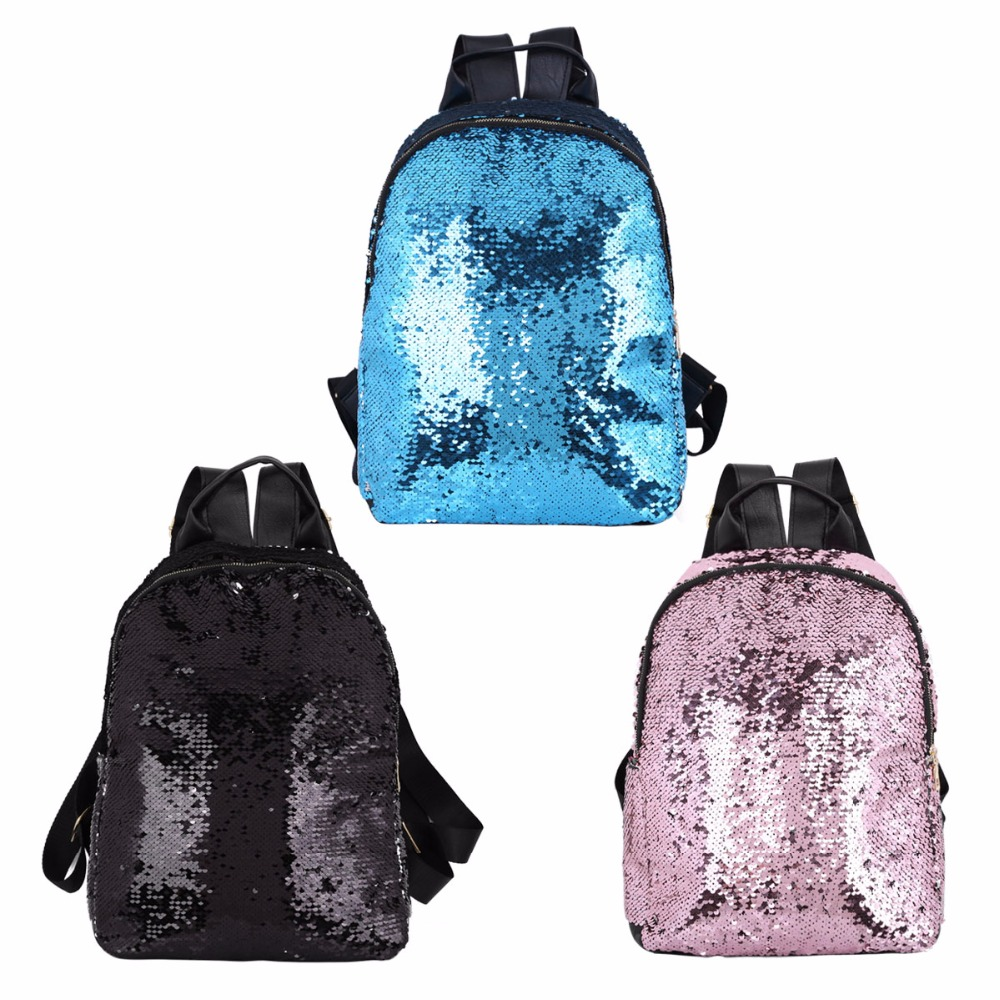 Women Girl Large Capacity Shiny Glitter Bling Sparkly Sequins Backpack PU Casual Daypack Shoulder Travel Bag for Girls Schoolbag