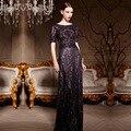 Elegante Deep Purple-Andar de Comprimento Meia Manga Mulheres Vestido Formal Longo do Baile de finalistas Do Partido Vestido Mãe da Noiva Vestidos 81963