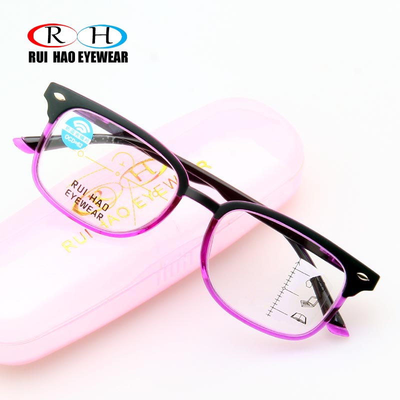 Progressive Reading Glasses Clear Polycarbonate Lenses Anti Blue Ray Presbyopic Eyeglasses Add +1.00~+3.50 Multifocal Glasses