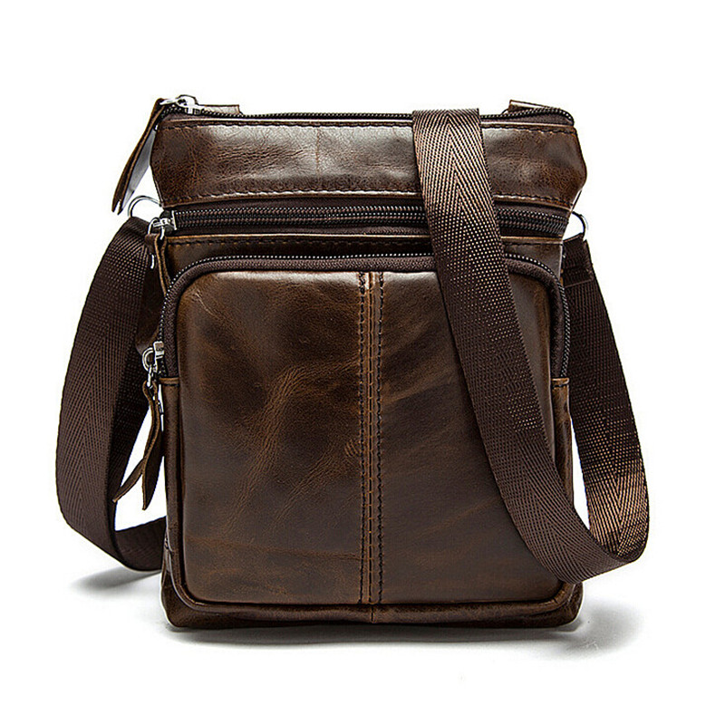 Genuine Cowhide Leather Men Bags Fashion Small Coin Purse Shoulder Bag Vintage Messenger Bags Man Casual Cross Body Handbags dachshund dog design girls small shoulder bags women creative casual clutch lattice cloth coin purse cute phone messenger bag