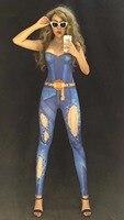Nightclub Female Singer Jazz DJ Performance Rompers Blue Hole Jeans Leotard Elastic Crystal Jumpsuit Dancer Bar Stage Costumes