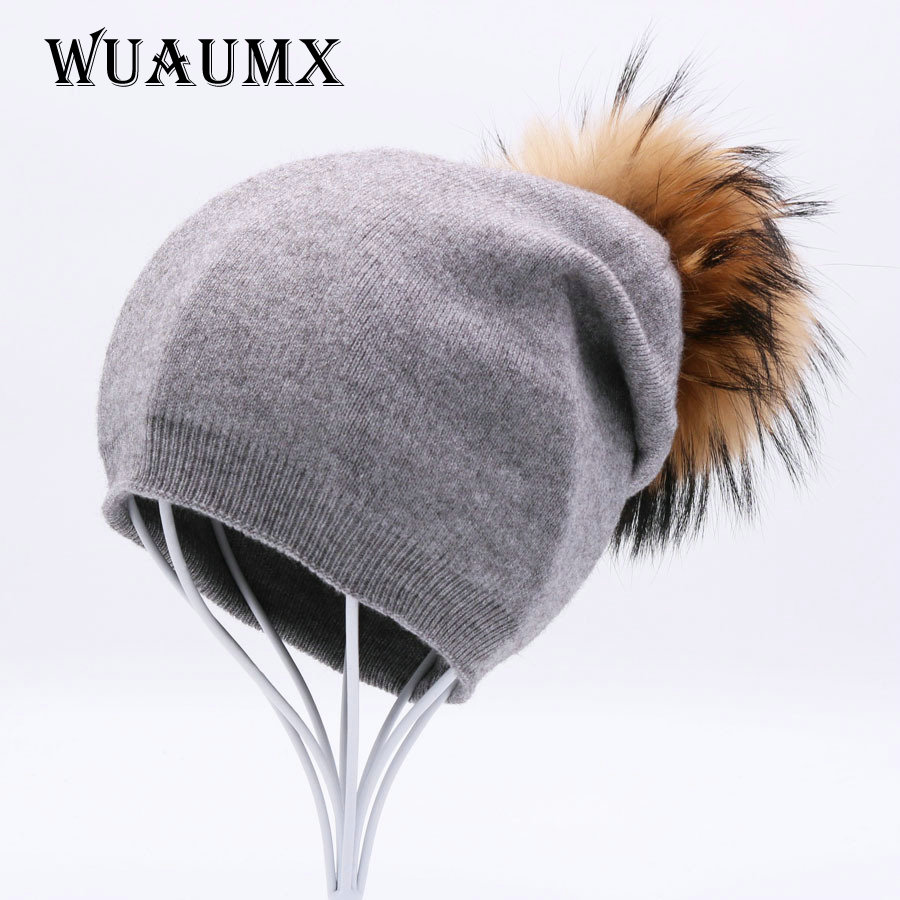 Autumn Winter Beanies Hat For Women Fur Ball Winter Hat With Real Raccoon Fox Fur Pompom Wool Knitted Hat Solid Skullies Casual autumn winter beanie fur hat knitted wool cap with raccoon fur pompom skullies caps ladies knit winter hats for women beanies