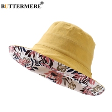BUTTERMERE Women Bucket Hats Cotton Linen Reversible Fishing Hat Ladies Floral Print Fashion Folding Female Summer Wide Brim Cap