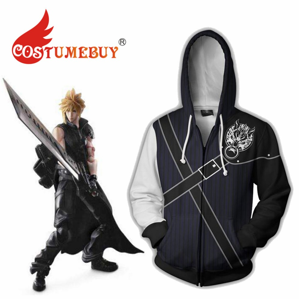 CostumeBuy Game Final Fantasy Cosplay Costume Zipper Hooded Final Fantasy Cloud Strife  Sweatershirt Coat L920