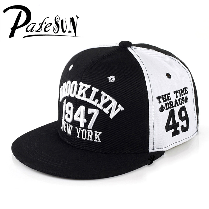 PATESUN 1947 Brooklyn Letter Embroidery Baseball Cap Gorras Planas Snapback Caps New York Hip Hop Hats Snapbacks Casquette 2016 new kids minions baseball cap fashion adjustable children snapback caps gorras boys girls gorras planas hip hop hat 2202