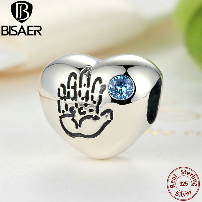 Objective Bisaer 925 Sterling Silver Baby Boy Blue Cz Heart Handprint Charm Fit Pan Charm Bracelet & Bangle Jewelry Gos077 Charms Jewelry Sets & More