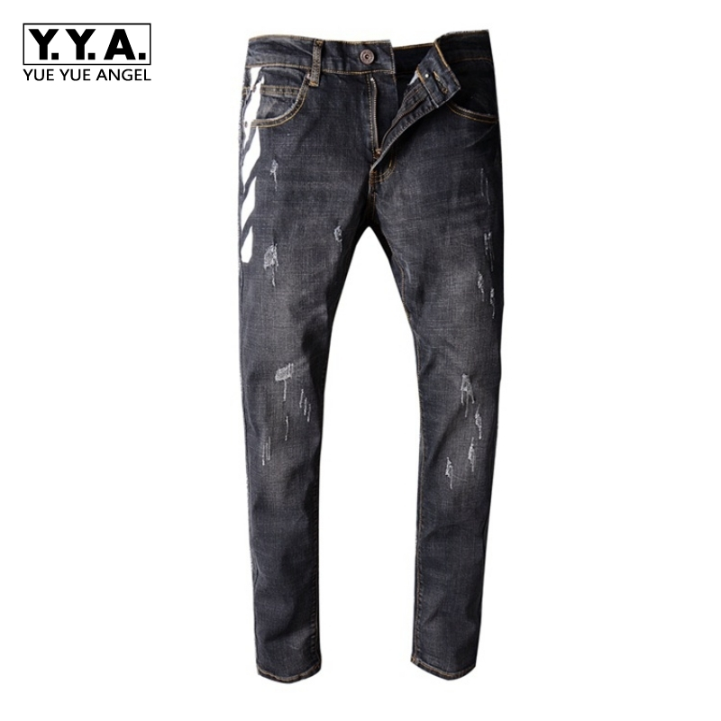Mens Black Print Jeans Mens Slim Pants Ripped Scratched Gothic Style Male 2018 New Stripe Denim Pants Brand Large Size 36 38 40