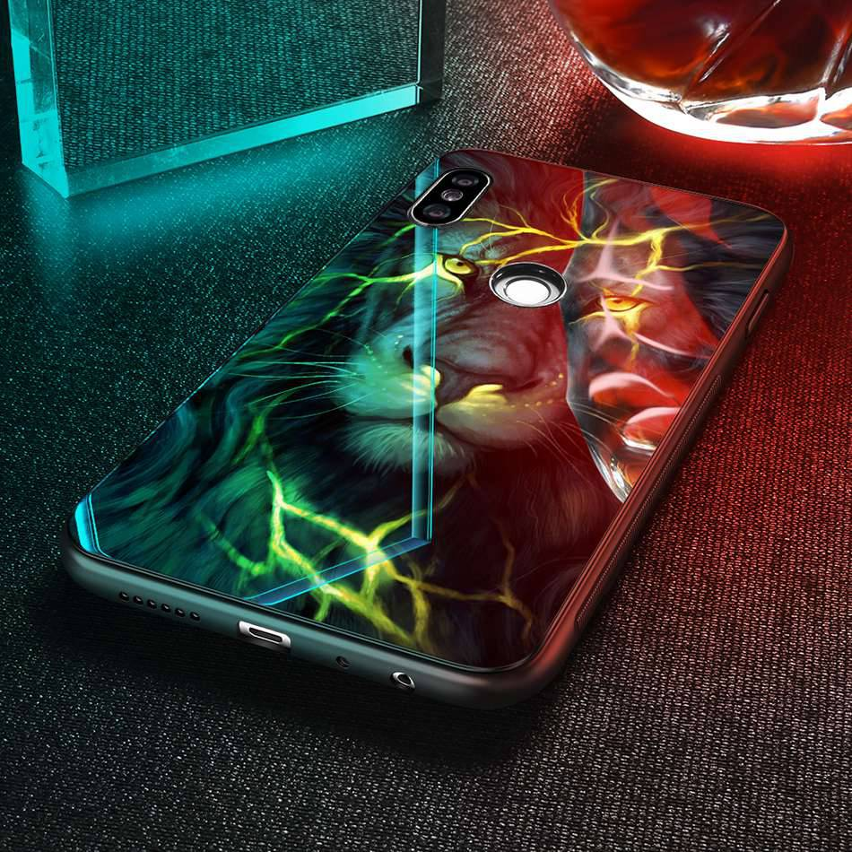 Tempered Glass Case For Xiaomi Redmi Note 5 5 Pro 5 Plus Note 4X Case Luxury Animal Pattern Case For Xiaomi Mi 8 A1 5X Coque     (12)