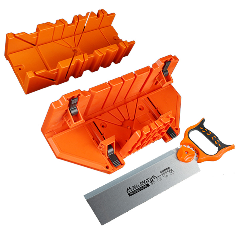 0/45/90 Degree Wood Cutting Clamping Miter Box with 12 SK5 Alloy Steel Miter Back Saw