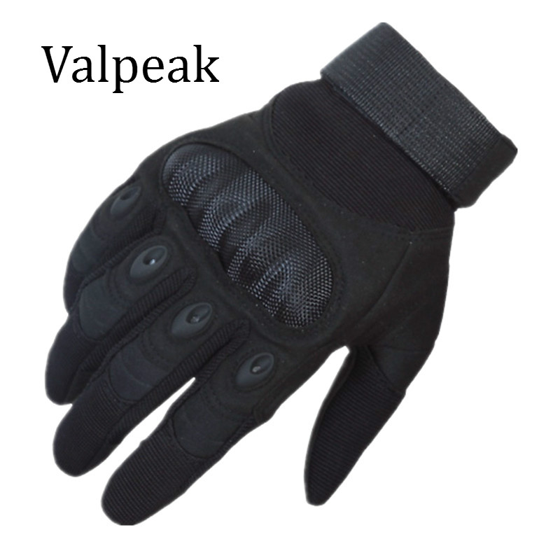 Valpeak Men Full Finger Leather Tactical Gloves Hard Knuckle Outdoor Military Gloves Breathable Combat Shooting Army Gloves