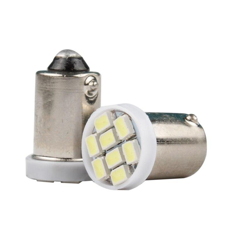 Wholesale 100pcs T4W BA9S 8smd 3528 Led Car Interior White Side Tail Light Bulb T11 8 SMD 1210 LED Auto Parking Lamp DC 12V 100X