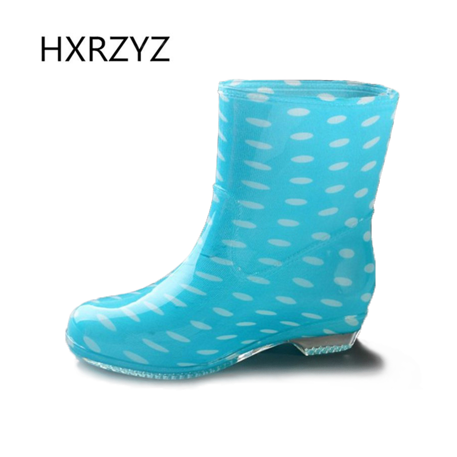 HXRZYZ women rain boots rubber slip-resistant ankle boots female spring and autumn new fashion waterproof rain shoes for women new spring autumn rain boot woman ankle boots sexy women rain boots