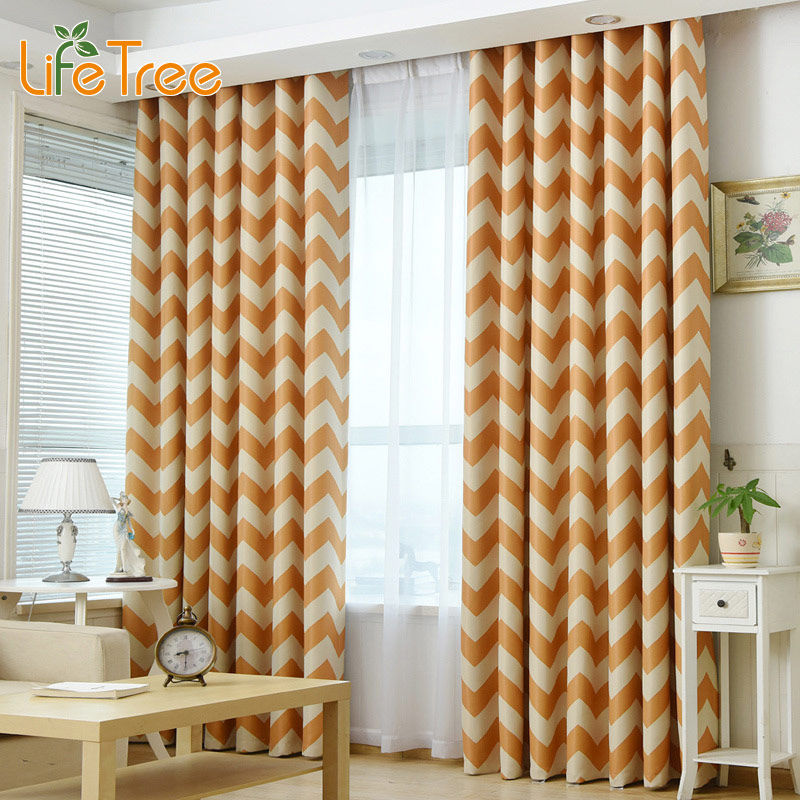 Navy Blue And Yellow Curtains: Color Wave Printed Modern Blackout Curtains For Living