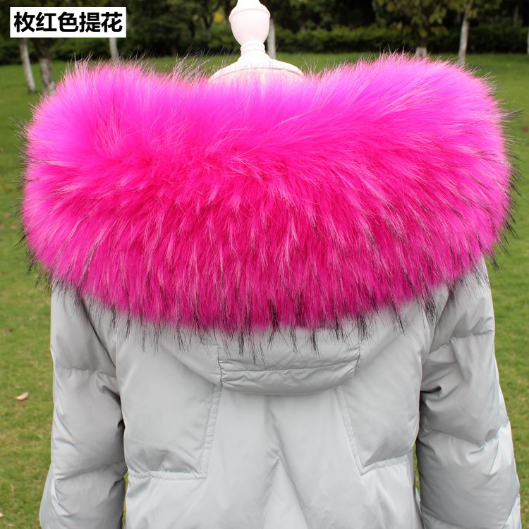 Lady Blinger Super Big Fluffy Faux Fur Collars Women Winter Fake Fur Hood Collar Men Jacket DIY Big Raccoon Fur Collar Scaves