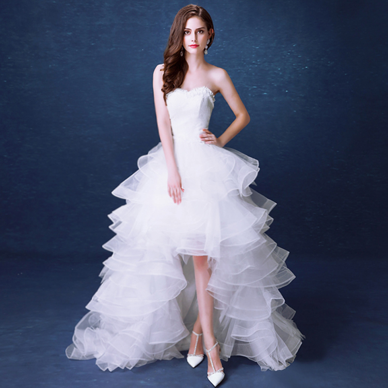 WB484 Plus Size Wedding Dress Short Front Long Back Vestidos De Novia Bridal Pearl Lace Sweetheart High Low Dresses In From Weddings