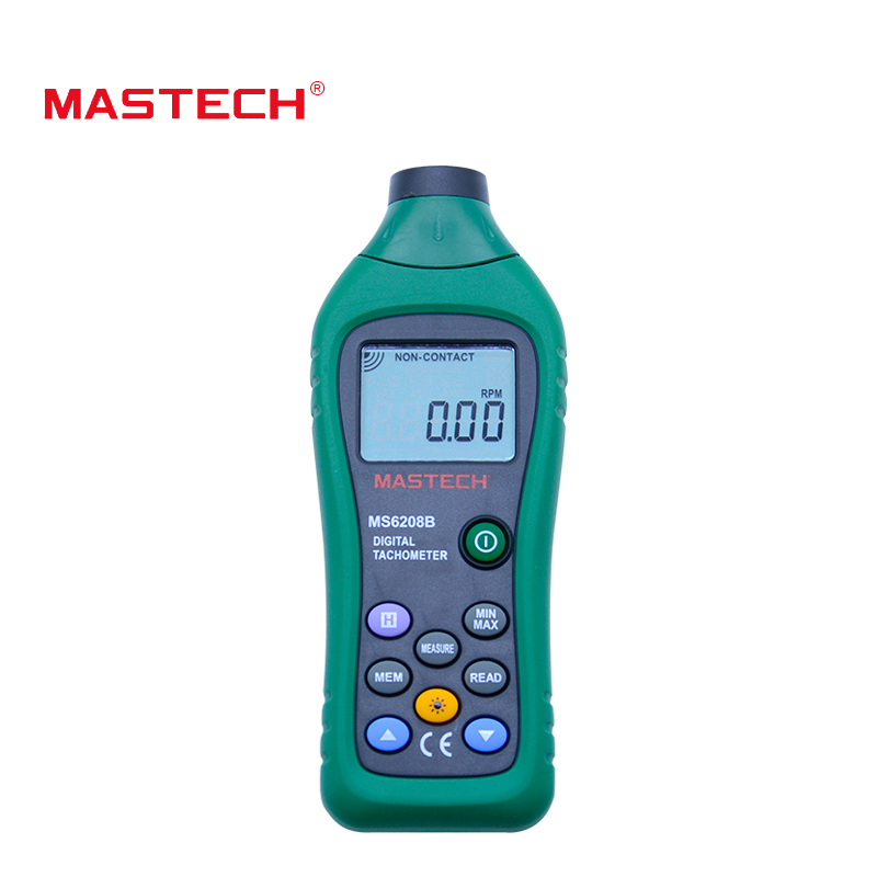 MASTECH MS6208B Digital Tachometer Non-Contact Speed Meter 100-9999.9 resolution 0.1rpm with data hold and lcd backlight display mastech ms6208b lcd digital laser photo tachometer rpm meter non contact tacometro rotation speed 50rpm 99999rpm data storage