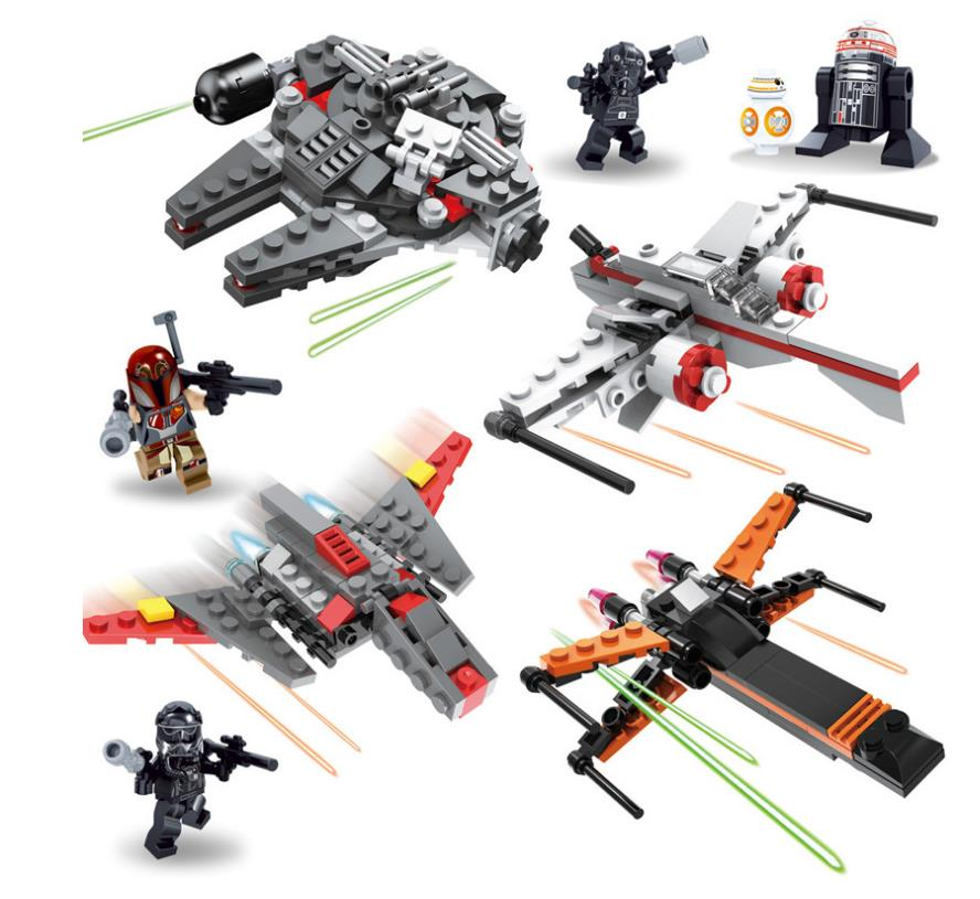 Star Wars 8 First Order Poe's X wing Millennium Falcon BB 8 R2 D2 Building block set Bricks Model Toys for children
