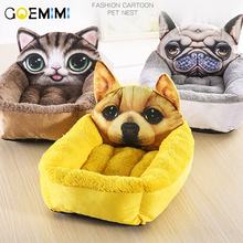 3D Print Cartoon Dog Bed pet dog bed Funny houses flannel kennel Six styles cat small Beds/Mats Pet Supplies