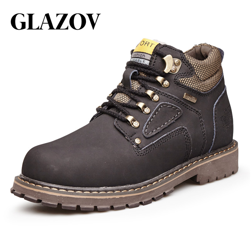 GLAZOV Brand Super Warm Men's Winter Leather Men Waterproof Rubber Snow Boots Leisure Boots England Retro Shoes For Men Big Size стоимость