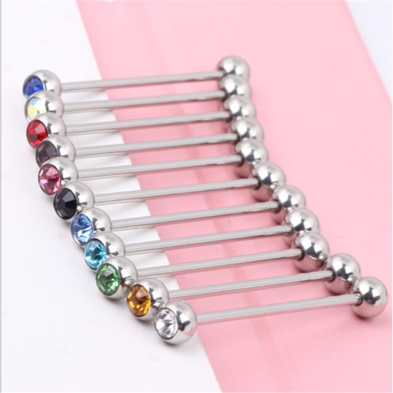 1PCS New Stainless Steel Ear Bone Nail Women Men Earring Body Piercing White Blue Crystal Ear expander Nipple Lip Stud Jewelry