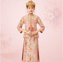 Dragon Phoenix Chinese bride cheongsam Guangdong Canton Yue embroidery Fashion Party Dress Vestidos China Traditional Wedding