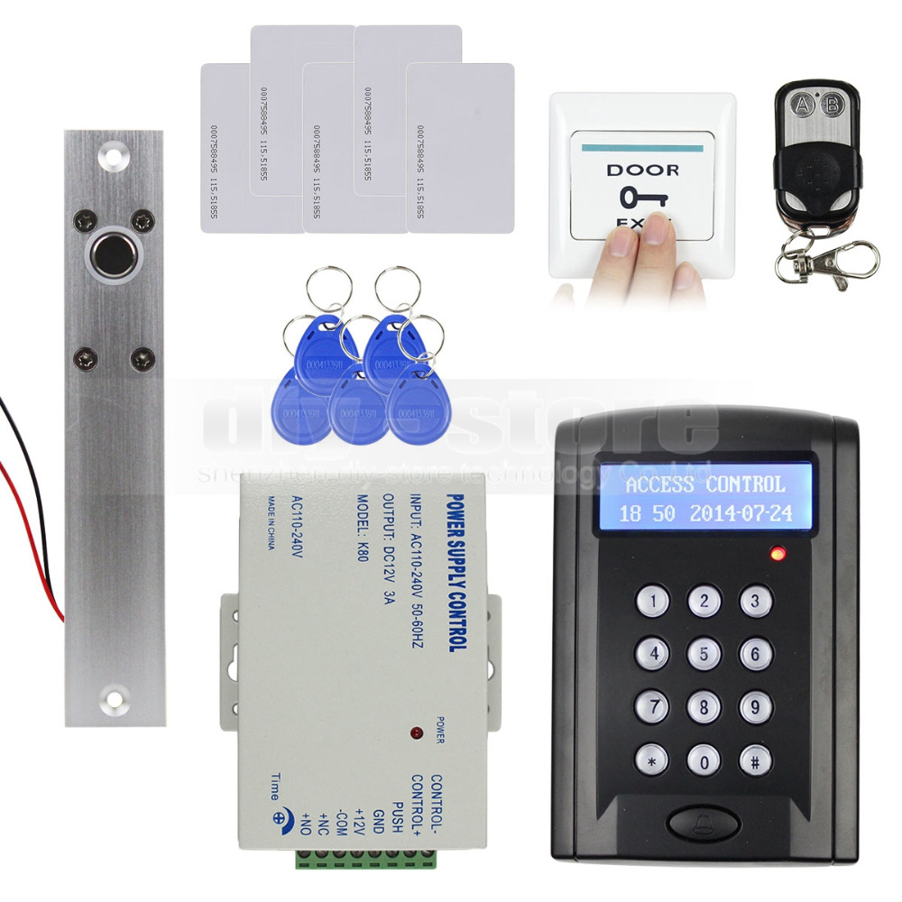 DIYSECUR Remote Control RFID Keypad Door Access Control Security System Kit + Electric Bolt Lock +  Free ID Cards  B100 high quality rfid door access control system kit set drop bolt door lock rfid keypad power 2 remote free shipping