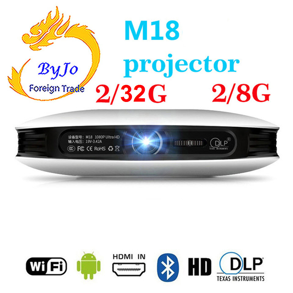 ByJoTeCH M18 projecteur 3D Android WIFI Home cinéma cinéma Proyector 4 K Beamer AirPlay Miracast batterie intégrée également appelée D08