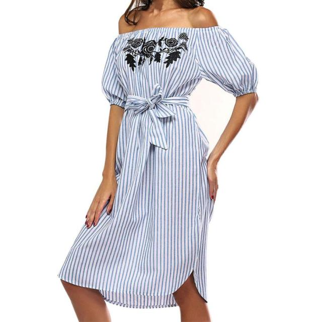 57442f0b37 Summer Women Off shoulder flower girl dress Short Sleeve Slash Neck female  Sexy Striped Casual dress Vestido mujer Slim Sundress