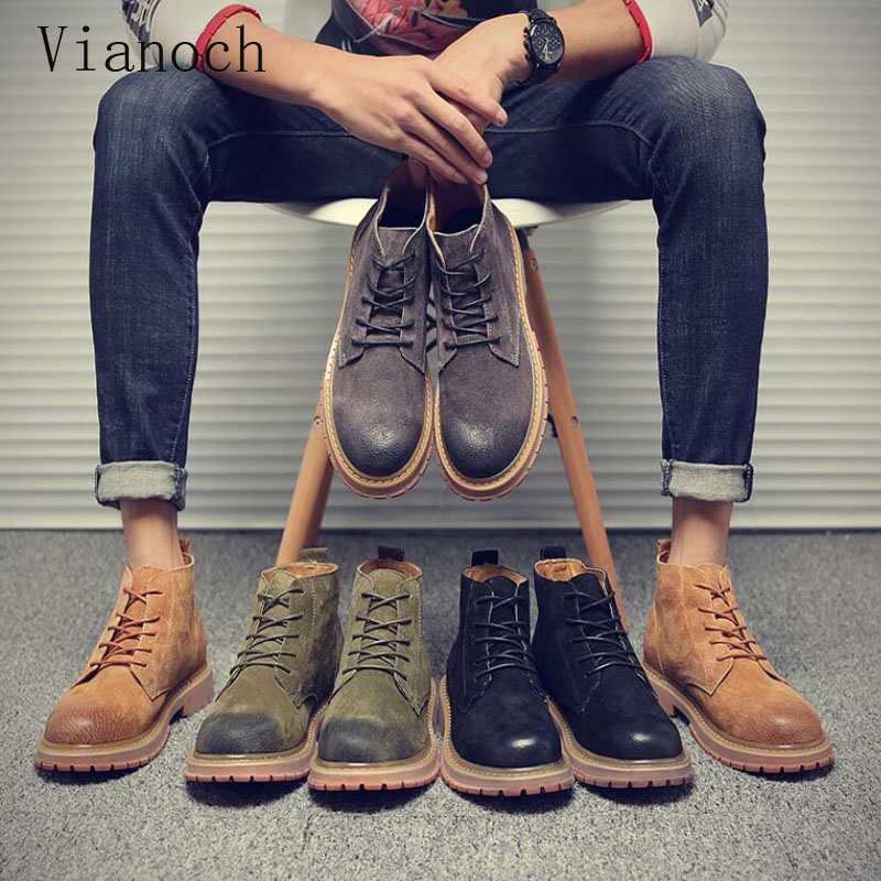Cheville Chaussures brown Lacets Bottes New Mode Homme black Vintage Grey Automne Printemps green Hommes Mens D'hiver À Men0049 vnmN80w