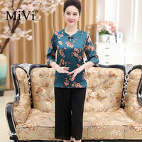 MIVI Brand 100 Real Silkworm Silk Women Shirts Floral Print Blouse Vintage Half Sleeve Luxurious OL