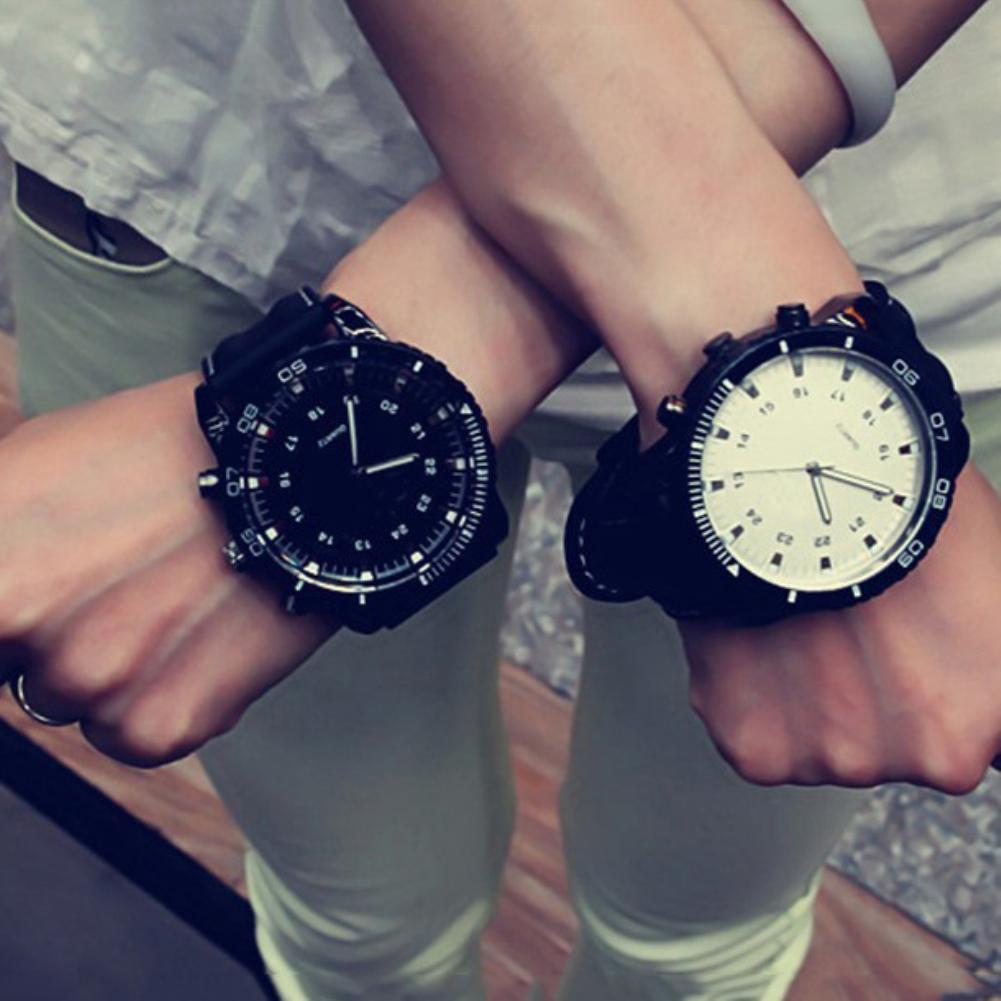 Fashion Sport Analog Unisex Couple Watch Men Watch Women Quartz Wrist Clock Watch Faux Leather Band