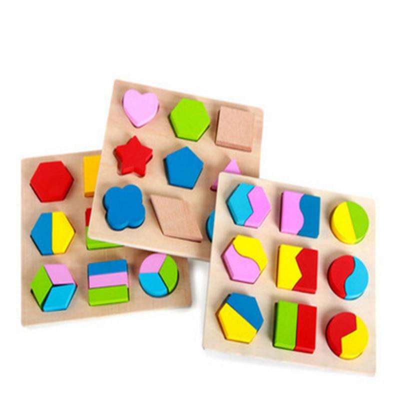 3sets Koka bloku bērnu bērni Koka dēlis Mācīšanās par rotaļlietu ģeometrijas blokiem Montessori rotaļlietas Koka bērnu rotaļlietas