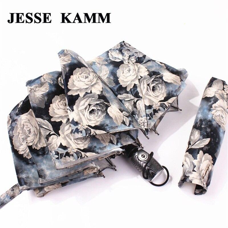 JESSE KAMM Grand et Fort Pour Deux Personnes Entièrement Automatique Compact Anti-UV Pluie Soleil Coupe-Vent Parapluies Pour Femmes Dames De Mode
