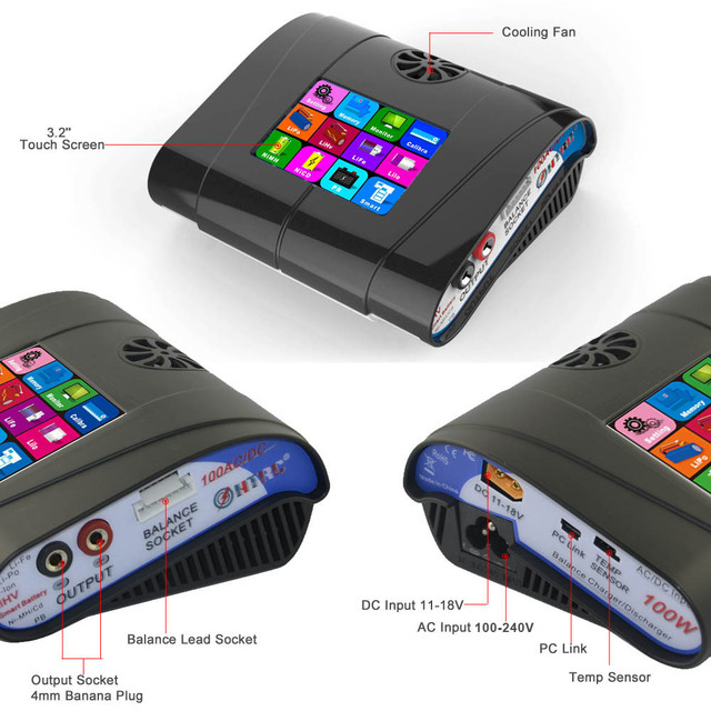 """HTRC HT100 AC/DC 3.2"""" Color LCD Touch Screen 100W 10A  RC Balance Charger For Lion/LiPo/LiFe/LiHv Battery"""