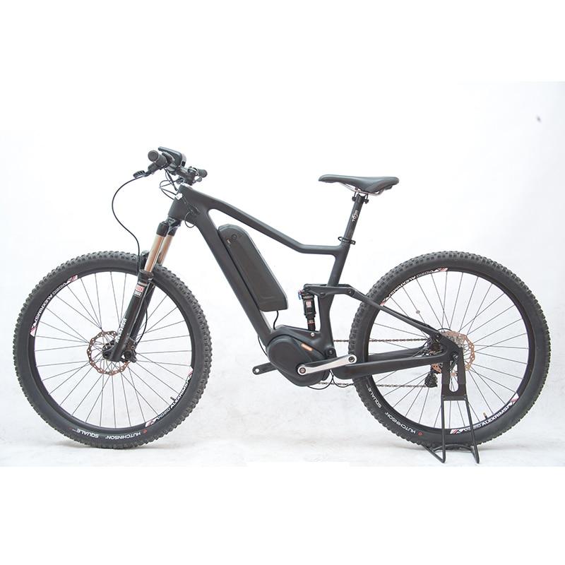 27.5inch  Carbon Fiber Ebike Carbon Fiber Full Suspension Soft Tail Carbon Fiber Electric Mountain Bike Bafang Mid-motor Bicycle