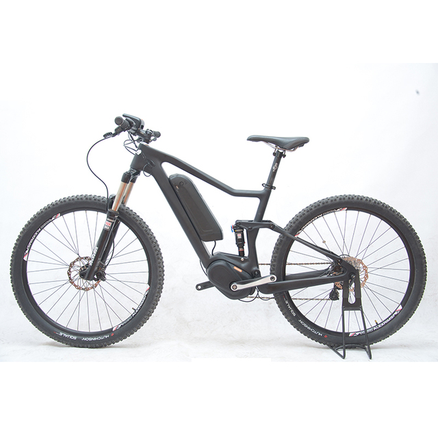 27 5inch Carbon Fiber Ebike Full Suspension Soft Tail Electric Mountain Bike Bafang Mid Motor Bicycle