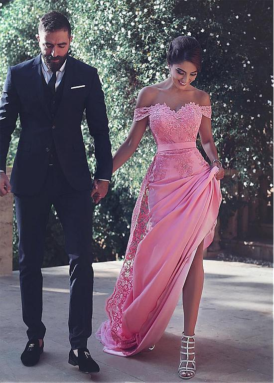 New Fashion Detachable Train Lace Mermaid Long   Evening     dresses   Elegant Cap Sleeve V-Neck Prom Gown Robe soire Abendkleider 2017