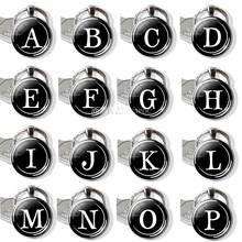 hot deal buy 26 letters silver fashion letter keychains letter bag round glass dome key chain ring accessories personalized for birthday gift