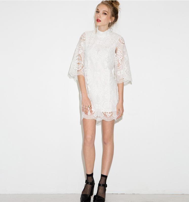 3e495304df 2017 stojak neck sukienek lato nowy sweet delikatne mały kołnierz hak kwiat  pusta wentylator lace dress darmowa wysyłka w157