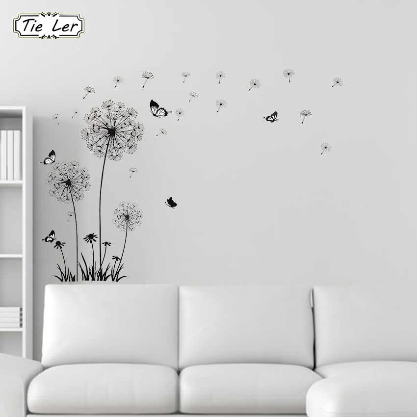 TIE LER Butterfly Flying in Dandelion Bedroom Stickers Poastoral Style Wall Stickers Original Design PVC Wall Decals