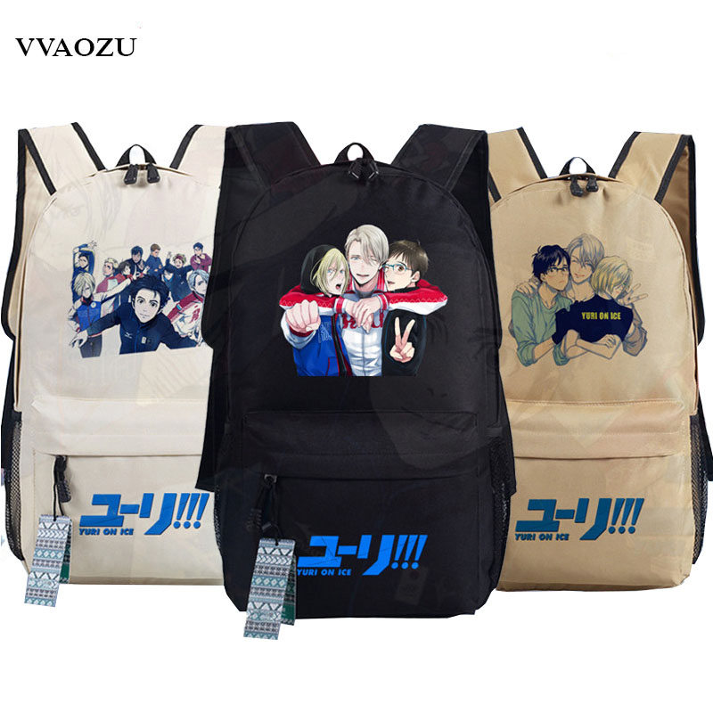 YURI on ICE Cartoon Schoolbag Victor Nikiforov Yuri Plisetsky Cosplay Oxford Backpack Students Laptop Travel Shoulder Bags yuri on ice figure cosplay katsuki yuri victor nikiforov yuri plisetsky pvc figure phone strap keychain pendant toys