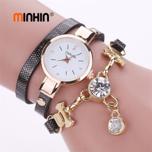 MINHIN Women Fashion Watches Casual Leather Bracelet Wristwatches Crystal