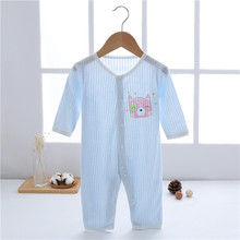 One-Piece Jumpsuits Buttons-Up 100% Cotton Long-Sleeves Cute Absorbent Breathable Coveralls 3-12 Months