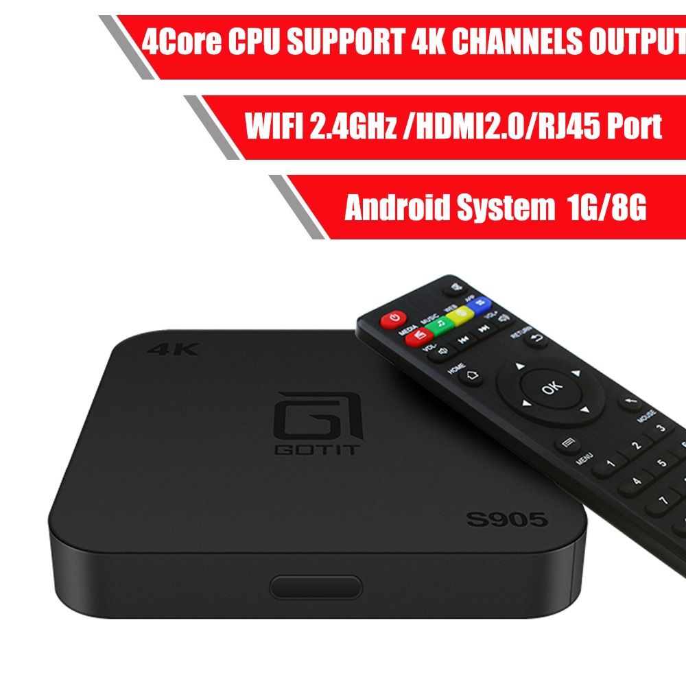 ¿Entendido S905 Android Box 7,0 último perfecto Player Amlogic S905W TV Box 4K 1G 8G Quad Core 4K Wifi Smart TV Box reproductor de medios m3u-in Decodificadores from Productos electrónicos    1