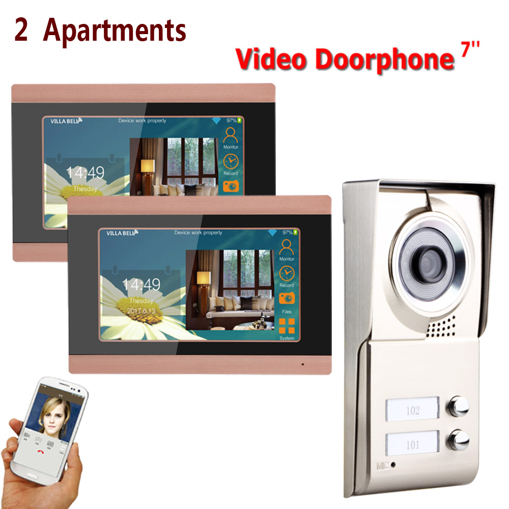 7inch Record Wireless Wifi 2 Apartments Video Door Phone Intercom System IR-CUT HD 1000TVL Camera Doorbell Camera With 2 Button