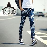 FLODISS 2018 New Cool Camo Bottoms Men Blue Green Camouflage Slim Pencil Pants Jogger Sweatpants Gym