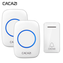 CACAZI Wireless Waterproof Doorbell Self-powered No battery led light US EU Plug Home Cordless DoorBell 1 2 Button Receiver