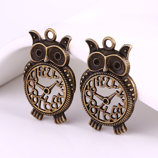 Antique brass metal big owl clock charms for jewelry making diy antique brass metal big owl clock charms for jewelry making diy zinc alloy owl clock pendant mozeypictures Images