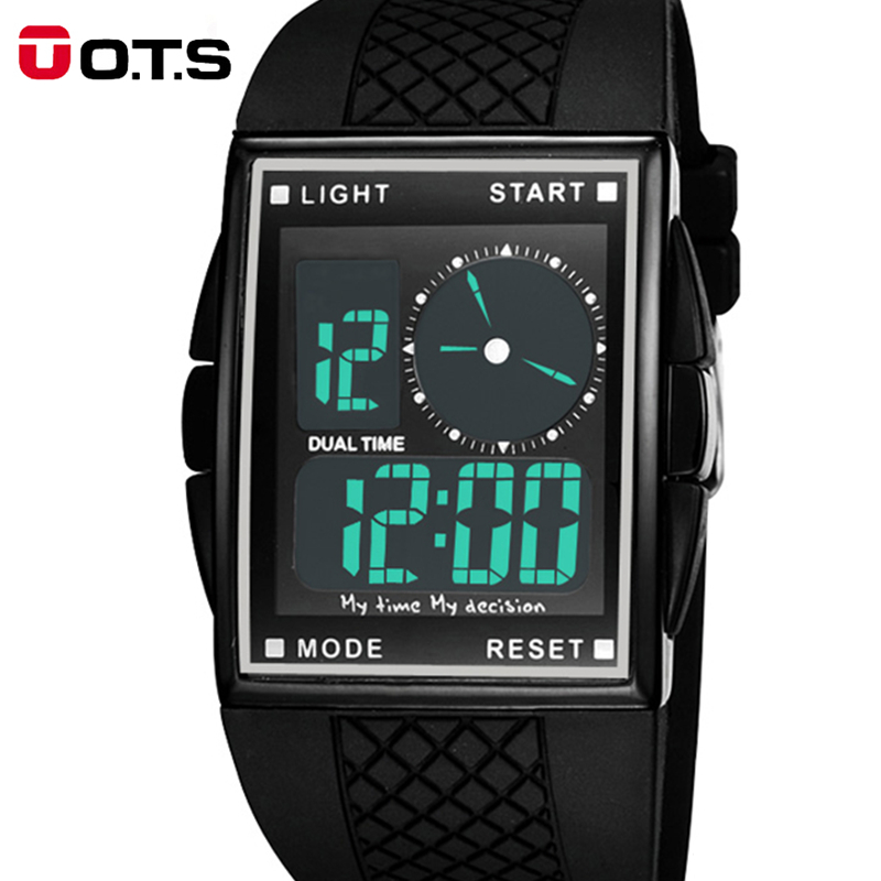 Cool LED Digital och Analog Men Sport Watch med Kvadratisk Dial, Hot - Herrklockor