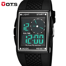 Cool LED Digital and Analog Men Sports Watch with Square Dial, Hot Sale OTS Water Resistant Boys Girls Sports Gift Reloj Hombre